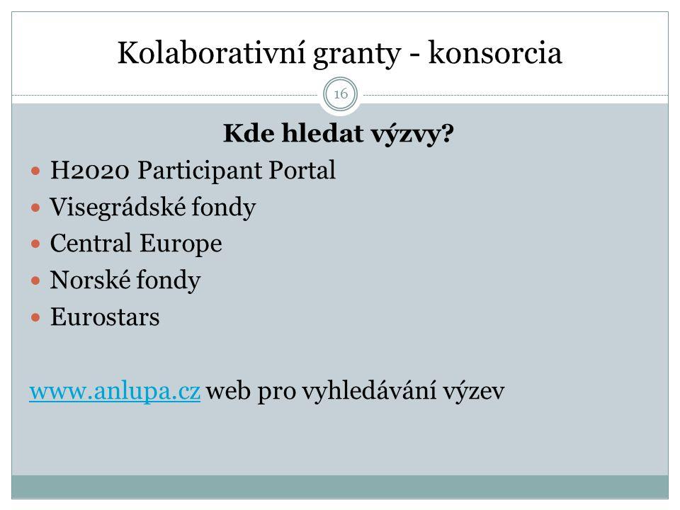 Kolaborativní granty - konsorcia Kde hledat výzvy? H2020 Participant Portal Visegrádské fondy Central Europe Norské fondy Eurostars www.anlupa.czwww.a