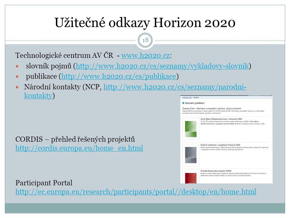 Užitečné odkazy Horizon 2020 Technologické centrum AV ČR - www.h2020.cz:www.h2020.cz slovník pojmů (http://www.h2020.cz/cs/seznamy/vykladovy-slovnik)http://www.h2020.cz/cs/seznamy/vykladovy-slovnik publikace (http://www.h2020.cz/cs/publikace)http://www.h2020.cz/cs/publikace Národní kontakty (NCP, http://www.h2020.cz/cs/seznamy/narodni- kontakty)http://www.h2020.cz/cs/seznamy/narodni- kontakty CORDIS – přehled řešených projektů http://cordis.europa.eu/home_en.html Participant Portal http://ec.europa.eu/research/participants/portal//desktop/en/home.html 18