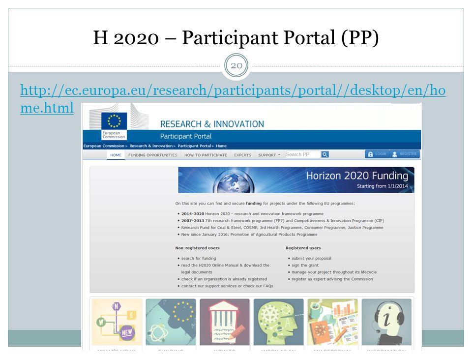 H 2020 – Participant Portal (PP) http://ec.europa.eu/research/participants/portal//desktop/en/ho me.html 20