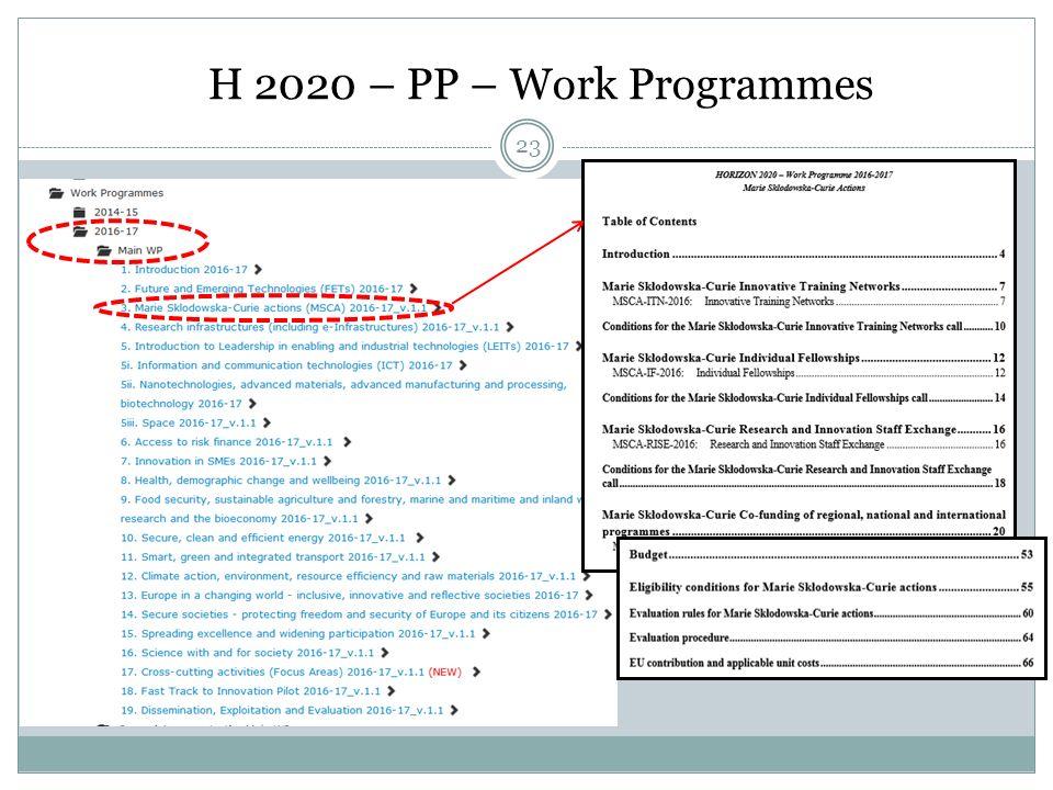 H 2020 – PP – Work Programmes 23