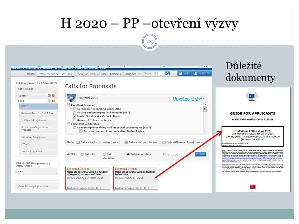 H 2020 – PP –otevření výzvy Důležité dokumenty 29