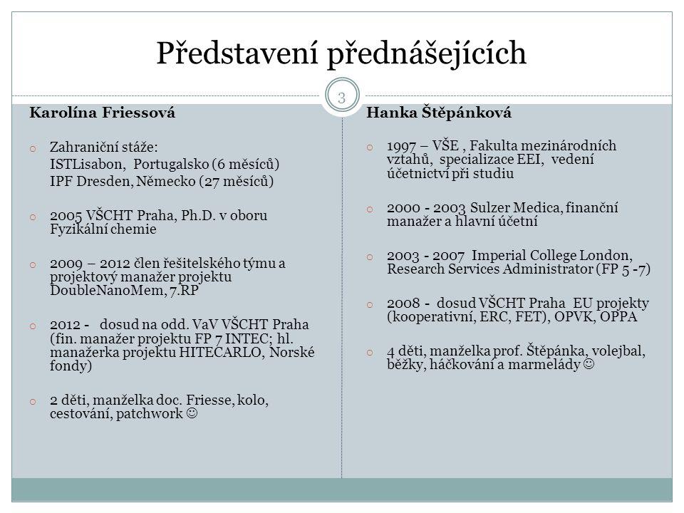 Představení přednášejících 3 Karolína Friessová o Zahraniční stáže: ISTLisabon, Portugalsko (6 měsíců) IPF Dresden, Německo (27 měsíců) o 2005 VŠCHT Praha, Ph.D.