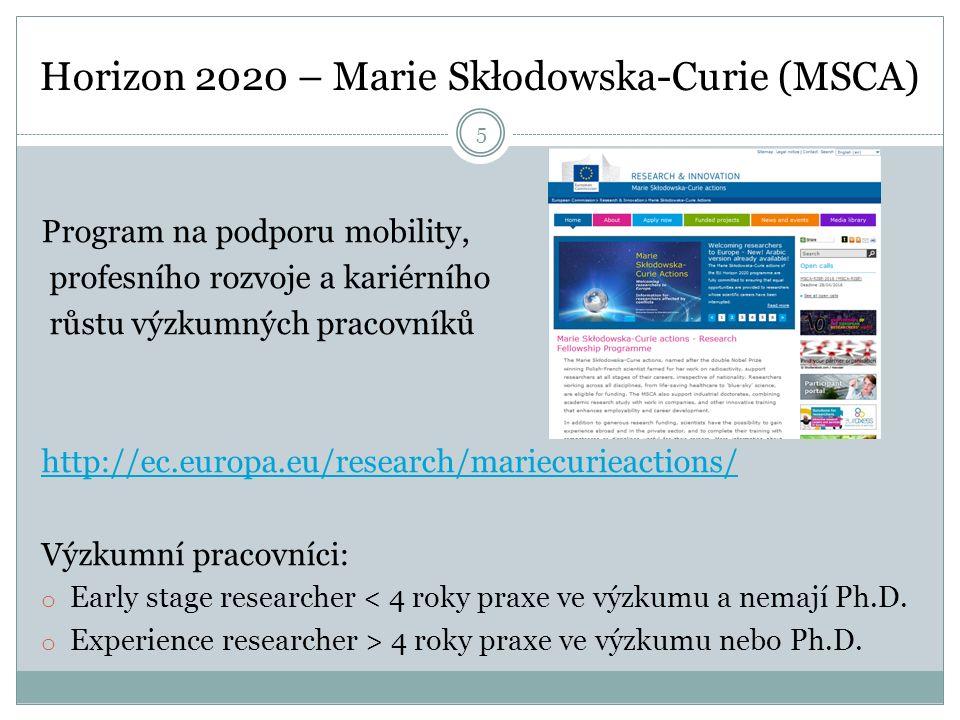 Horizon 2020 – Marie Skłodowska-Curie (MSCA) Program na podporu mobility, profesního rozvoje a kariérního růstu výzkumných pracovníků http://ec.europa.eu/research/mariecurieactions/ Výzkumní pracovníci: o Early stage researcher < 4 roky praxe ve výzkumu a nemají Ph.D.