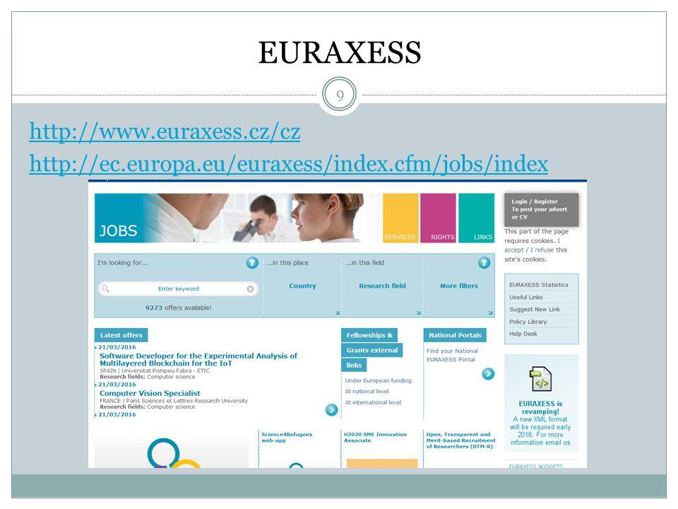 EURAXESS http://www.euraxess.cz/cz http://ec.europa.eu/euraxess/index.cfm/jobs/index 9