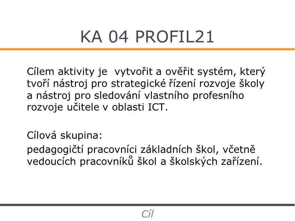 KA 04 PROFIL21 Cílem aktivity je vytvořit a ověřit systém, který tvoří nástroj pro strategické řízení rozvoje školy a nástroj pro sledování vlastního profesního rozvoje učitele v oblasti ICT.
