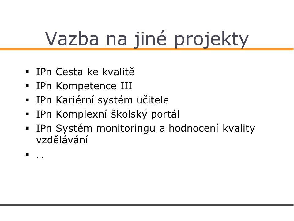 Vazba na jiné projekty  IPn Cesta ke kvalitě  IPn Kompetence III  IPn Kariérní systém učitele  IPn Komplexní školský portál  IPn Systém monitoringu a hodnocení kvality vzdělávání  …