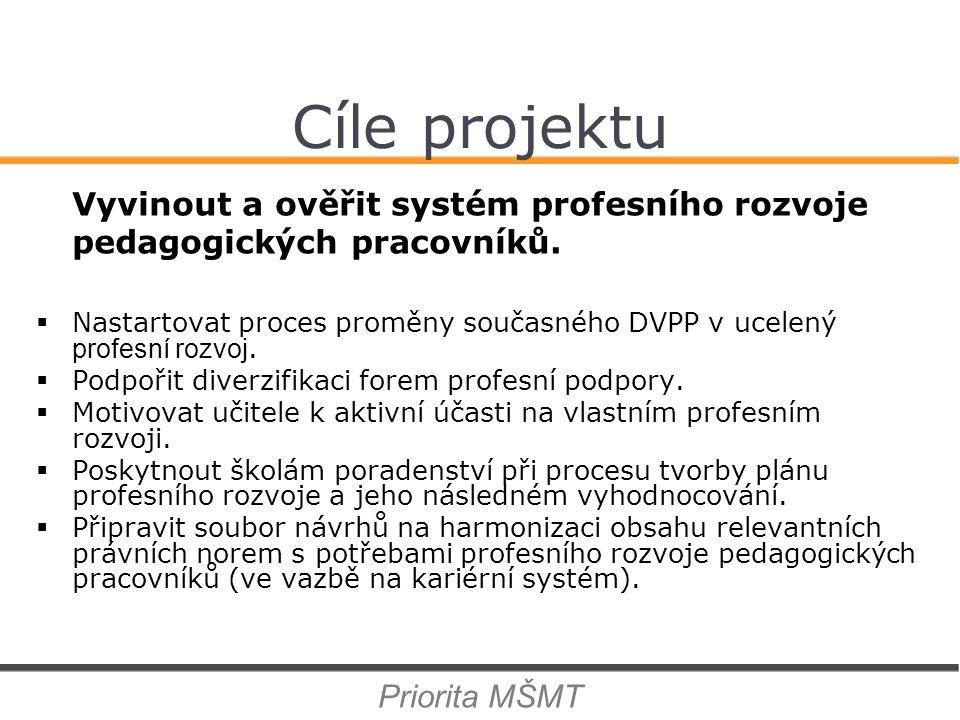 Cíle projektu Vyvinout a ověřit systém profesního rozvoje pedagogických pracovníků.