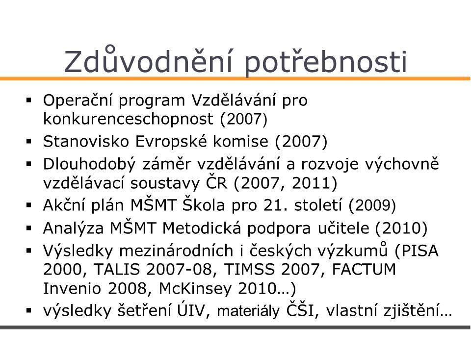 Zdůvodnění potřebnosti  Operační program Vzdělávání pro konkurenceschopnost ( 2007)  Stanovisko Evropské komise (2007)  Dlouhodobý záměr vzdělávání a rozvoje výchovně vzdělávací soustavy ČR (2007, 2011)  Akční plán MŠMT Škola pro 21.