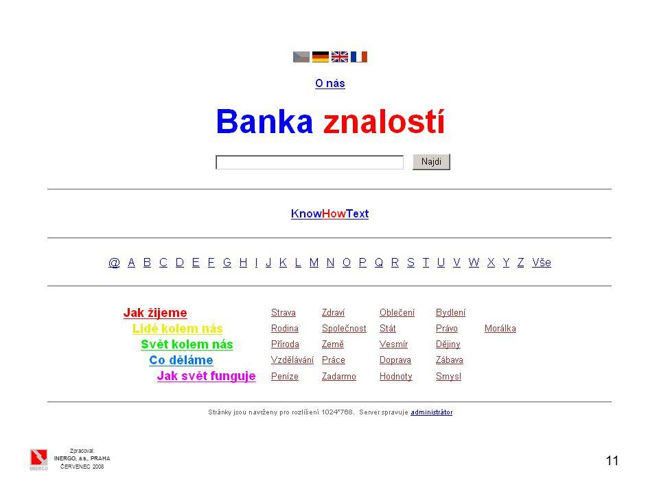 11 Zpracoval: INERGO, a.s., PRAHA ČERVENEC 2008