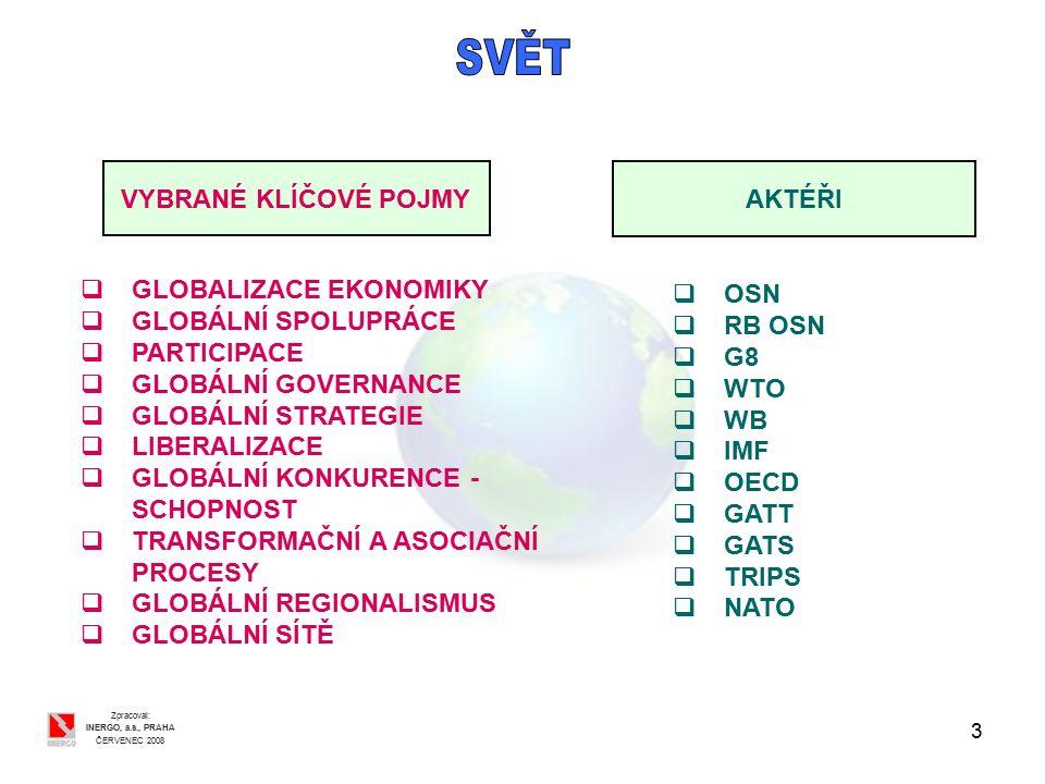 3 Zpracoval: INERGO, a.s., PRAHA ČERVENEC 2008 VYBRANÉ KLÍČOVÉ POJMY AKTÉŘI  GLOBALIZACE EKONOMIKY  GLOBÁLNÍ SPOLUPRÁCE  PARTICIPACE  GLOBÁLNÍ GOVERNANCE  GLOBÁLNÍ STRATEGIE  LIBERALIZACE  GLOBÁLNÍ KONKURENCE - SCHOPNOST  TRANSFORMAČNÍ A ASOCIAČNÍ PROCESY  GLOBÁLNÍ REGIONALISMUS  GLOBÁLNÍ SÍTĚ  OSN  RB OSN  G8  WTO  WB  IMF  OECD  GATT  GATS  TRIPS  NATO