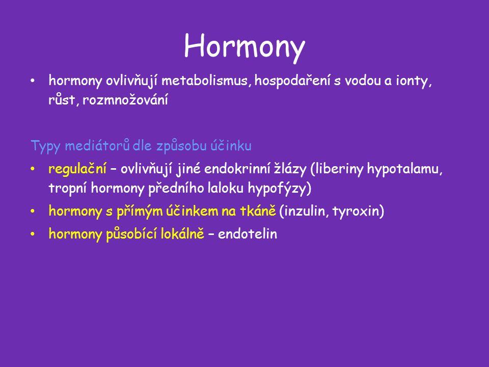 Hormony hormony ovlivňují metabolismus, hospodaření s vodou a ionty, růst, rozmnožování Typy mediátorů dle způsobu účinku regulační – ovlivňují jiné endokrinní žlázy (liberiny hypotalamu, tropní hormony předního laloku hypofýzy) hormony s přímým účinkem na tkáně (inzulin, tyroxin) hormony působící lokálně – endotelin