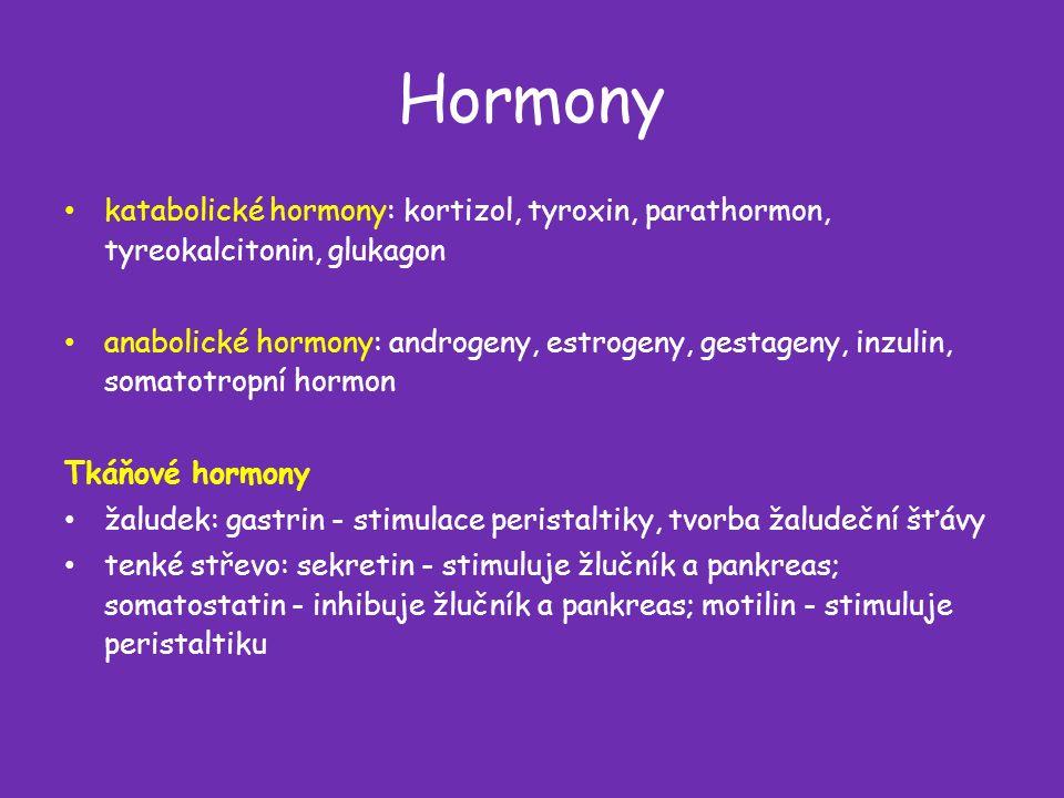 Hormony katabolické hormony: kortizol, tyroxin, parathormon, tyreokalcitonin, glukagon anabolické hormony: androgeny, estrogeny, gestageny, inzulin, somatotropní hormon Tkáňové hormony žaludek: gastrin - stimulace peristaltiky, tvorba žaludeční šťávy tenké střevo: sekretin - stimuluje žlučník a pankreas; somatostatin - inhibuje žlučník a pankreas; motilin - stimuluje peristaltiku