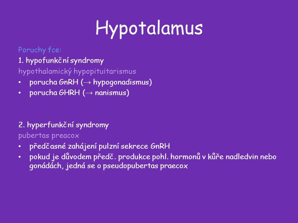 Hypotalamus Poruchy fce: 1.