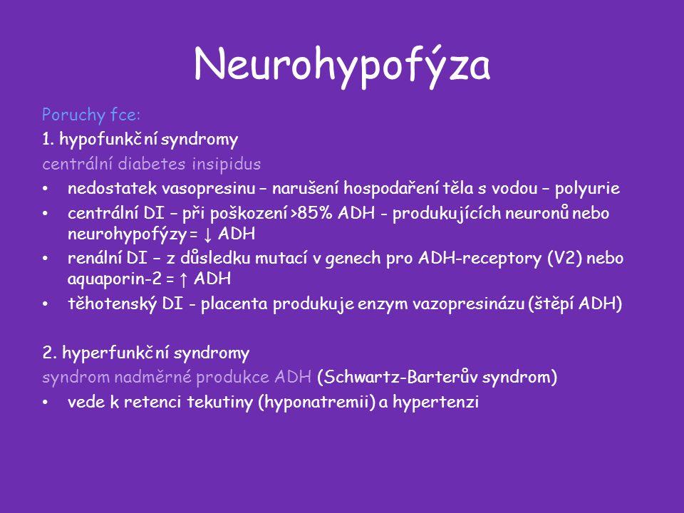 Neurohypofýza Poruchy fce: 1.