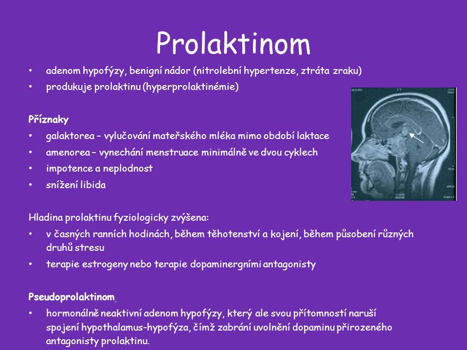Prolaktinom adenom hypofýzy, benigní nádor (nitrolební hypertenze, ztráta zraku) produkuje prolaktinu (hyperprolaktinémie) Příznaky galaktorea – vylučování mateřského mléka mimo období laktace amenorea – vynechání menstruace minimálně ve dvou cyklech impotence a neplodnost snížení libida Hladina prolaktinu fyziologicky zvýšena: v časných ranních hodinách, během těhotenství a kojení, během působení různých druhů stresu terapie estrogeny nebo terapie dopaminergními antagonisty Pseudoprolaktinom hormonálně neaktivní adenom hypofýzy, který ale svou přítomností naruší spojení hypothalamus-hypofýza, čímž zabrání uvolnění dopaminu přirozeného antagonisty prolaktinu.