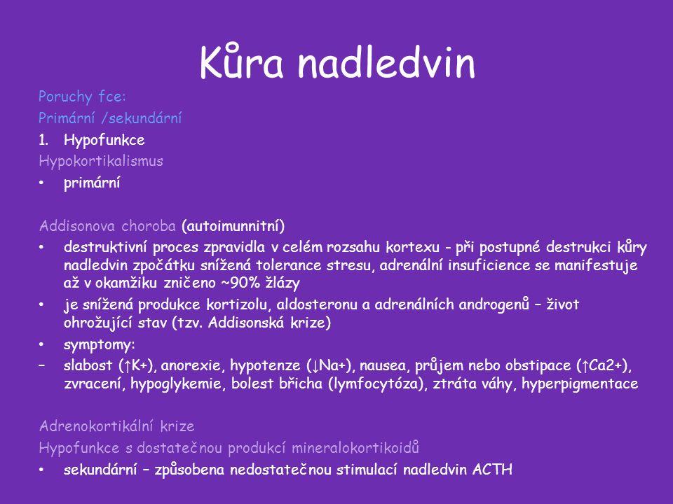 Kůra nadledvin Poruchy fce: Primární /sekundární 1.Hypofunkce Hypokortikalismus primární Addisonova choroba (autoimunnitní) destruktivní proces zpravidla v celém rozsahu kortexu - při postupné destrukci kůry nadledvin zpočátku snížená tolerance stresu, adrenální insuficience se manifestuje až v okamžiku zničeno ~90% žlázy je snížená produkce kortizolu, aldosteronu a adrenálních androgenů – život ohrožující stav (tzv.