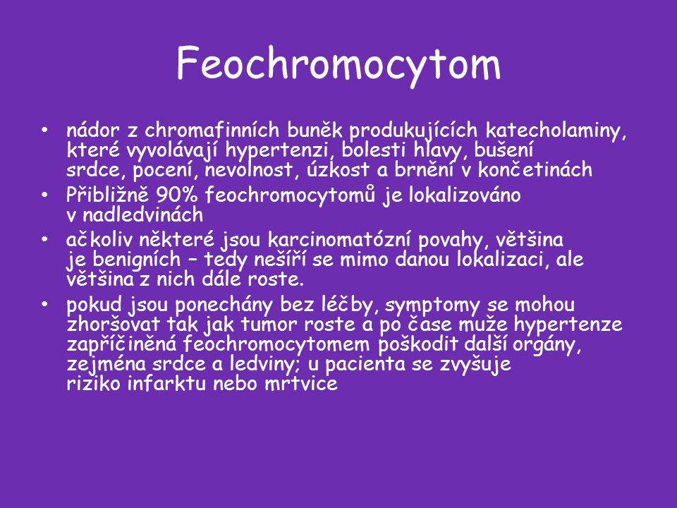 Feochromocytom nádor z chromafinních buněk produkujících katecholaminy, které vyvolávají hypertenzi, bolesti hlavy, bušení srdce, pocení, nevolnost, úzkost a brnění v končetinách Přibližně 90% feochromocytomů je lokalizováno v nadledvinách ačkoliv některé jsou karcinomatózní povahy, většina je benigních – tedy nešíří se mimo danou lokalizaci, ale většina z nich dále roste.