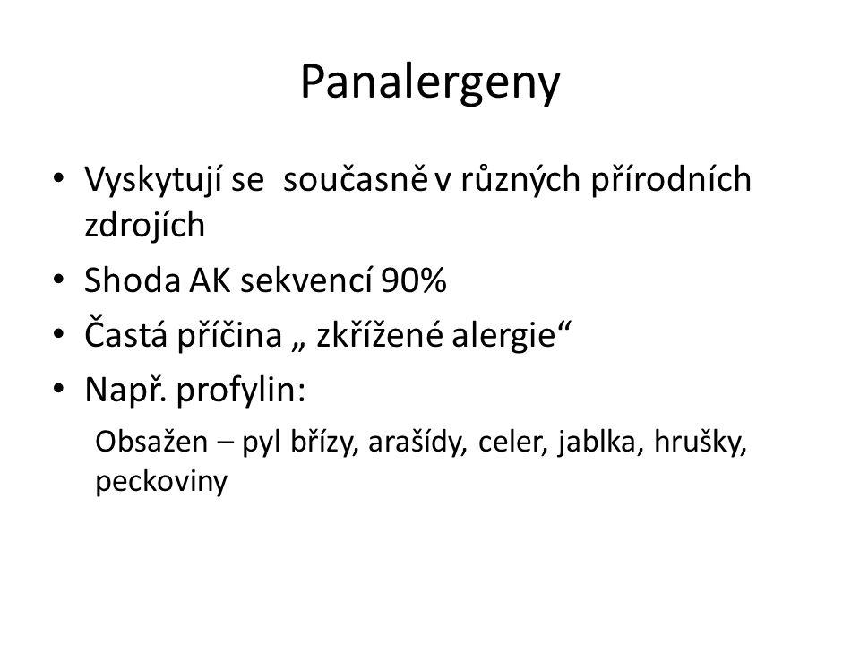 """Panalergeny Vyskytují se současně v různých přírodních zdrojích Shoda AK sekvencí 90% Častá příčina """" zkřížené alergie Např."""