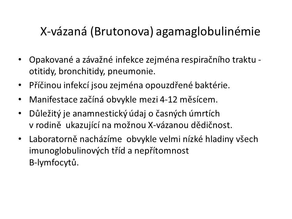 X-vázaná (Brutonova) agamaglobulinémie Opakované a závažné infekce zejména respiračního traktu - otitidy, bronchitidy, pneumonie.