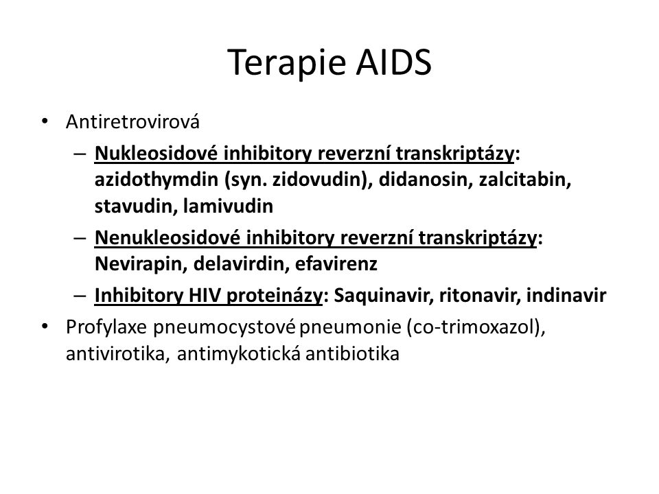 Terapie AIDS Antiretrovirová – Nukleosidové inhibitory reverzní transkriptázy: azidothymdin (syn.