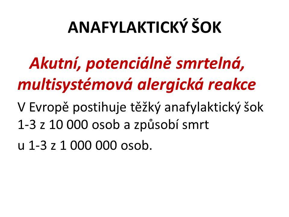 ANAFYLAKTICKÝ ŠOK Akutní, potenciálně smrtelná, multisystémová alergická reakce V Evropě postihuje těžký anafylaktický šok 1-3 z 10 000 osob a způsobí smrt u 1-3 z 1 000 000 osob.
