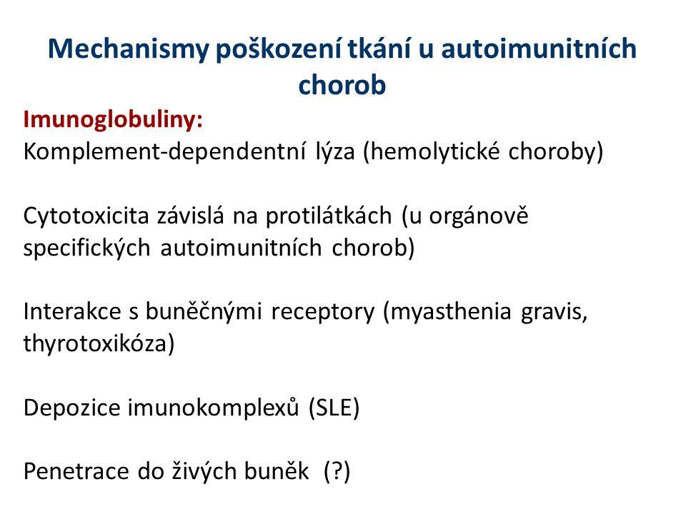 Mechanismy poškození tkání u autoimunitních chorob Imunoglobuliny: Komplement-dependentní lýza (hemolytické choroby) Cytotoxicita závislá na protilátkách (u orgánově specifických autoimunitních chorob) Interakce s buněčnými receptory (myasthenia gravis, thyrotoxikóza) Depozice imunokomplexů (SLE) Penetrace do živých buněk (?)