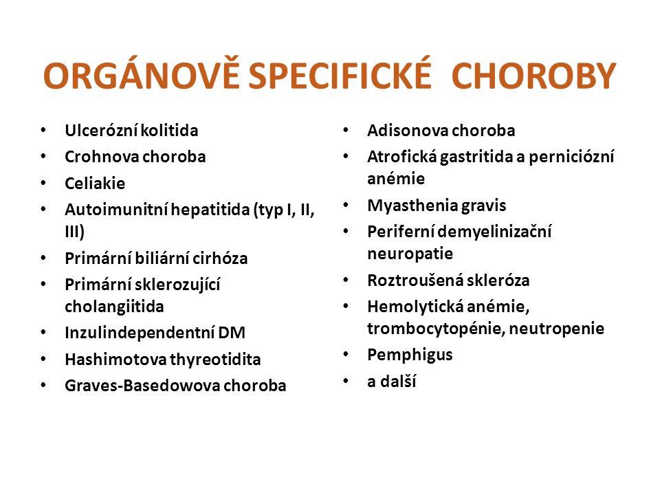 ORGÁNOVĚ SPECIFICKÉ CHOROBY Ulcerózní kolitida Crohnova choroba Celiakie Autoimunitní hepatitida (typ I, II, III) Primární biliární cirhóza Primární sklerozující cholangiitida Inzulindependentní DM Hashimotova thyreotidita Graves-Basedowova choroba Adisonova choroba Atrofická gastritida a perniciózní anémie Myasthenia gravis Periferní demyelinizační neuropatie Roztroušená skleróza Hemolytická anémie, trombocytopénie, neutropenie Pemphigus a další