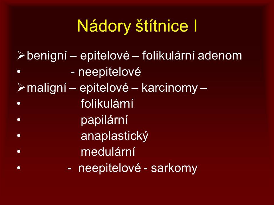 Nádory štítnice I  benigní – epitelové – folikulární adenom - neepitelové  maligní – epitelové – karcinomy – folikulární papilární anaplastický medulární - neepitelové - sarkomy