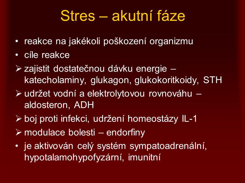 Stres – akutní fáze reakce na jakékoli poškození organizmu cíle reakce  zajistit dostatečnou dávku energie – katecholaminy, glukagon, glukokoritkoidy, STH  udržet vodní a elektrolytovou rovnováhu – aldosteron, ADH  boj proti infekci, udržení homeostázy IL-1  modulace bolesti – endorfiny je aktivován celý systém sympatoadrenální, hypotalamohypofyzární, imunitní