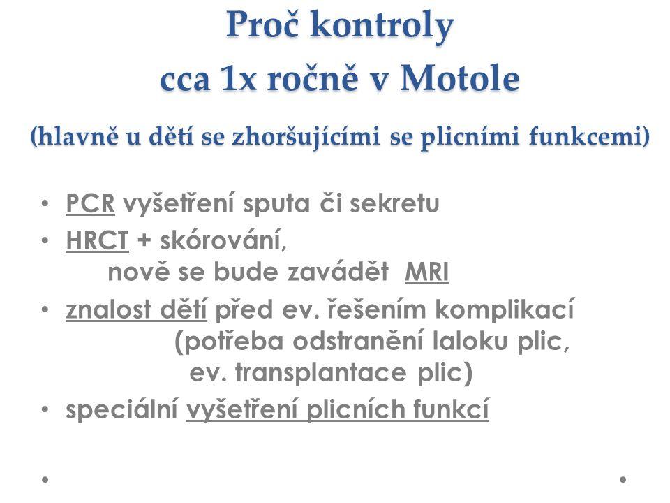 Proč kontroly cca 1x ročně v Motole (hlavně u dětí se zhoršujícími se plicními funkcemi) PCR vyšetření sputa či sekretu HRCT + skórování, nově se bude zavádět MRI znalost dětí před ev.