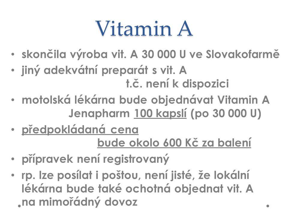 Vitamin A skončila výroba vit. A 30 000 U ve Slovakofarmě jiný adekvátní preparát s vit.