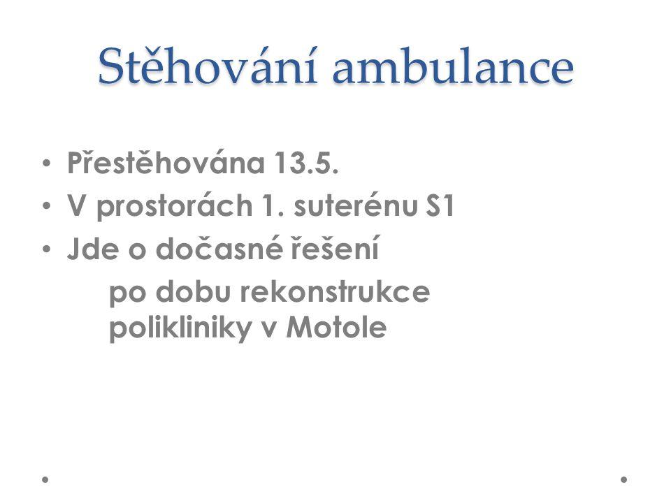 Stěhování ambulance Přestěhována 13.5. V prostorách 1.