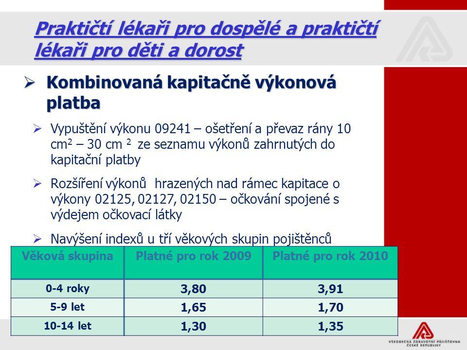 16 Praktičtí lékaři pro dospělé a praktičtí lékaři pro děti a dorost  Kombinovaná kapitačně výkonová platba  Vypuštění výkonu 09241 – ošetření a převaz rány 10 cm 2 – 30 cm 2 ze seznamu výkonů zahrnutých do kapitační platby  Rozšíření výkonů hrazených nad rámec kapitace o výkony 02125, 02127, 02150 – očkování spojené s výdejem očkovací látky  Navýšení indexů u tří věkových skupin pojištěnců Věková skupinaPlatné pro rok 2009Platné pro rok 2010 0-4 roky 3,803,91 5-9 let 1,651,70 10-14 let 1,301,35