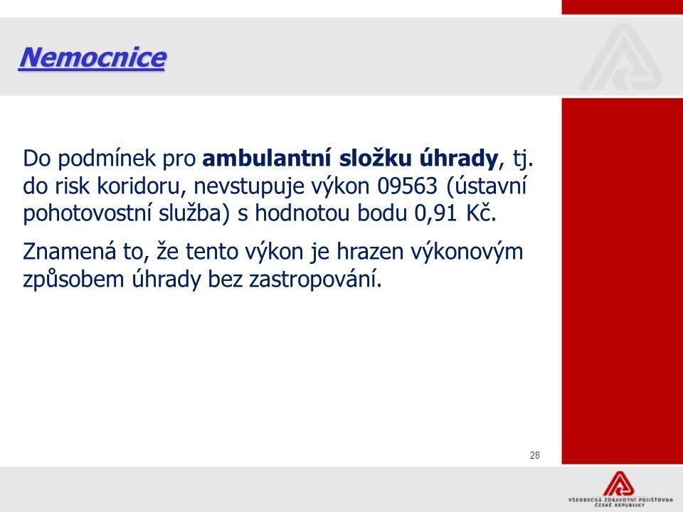 28 Nemocnice Do podmínek pro ambulantní složku úhrady, tj.