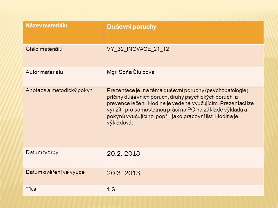 Název materiálu Duševní poruchy Číslo materiáluVY_32_INOVACE_21_12 Autor materiáluMgr.