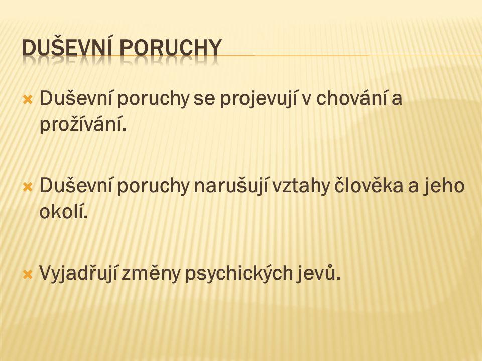  Duševní poruchy se projevují v chování a prožívání.