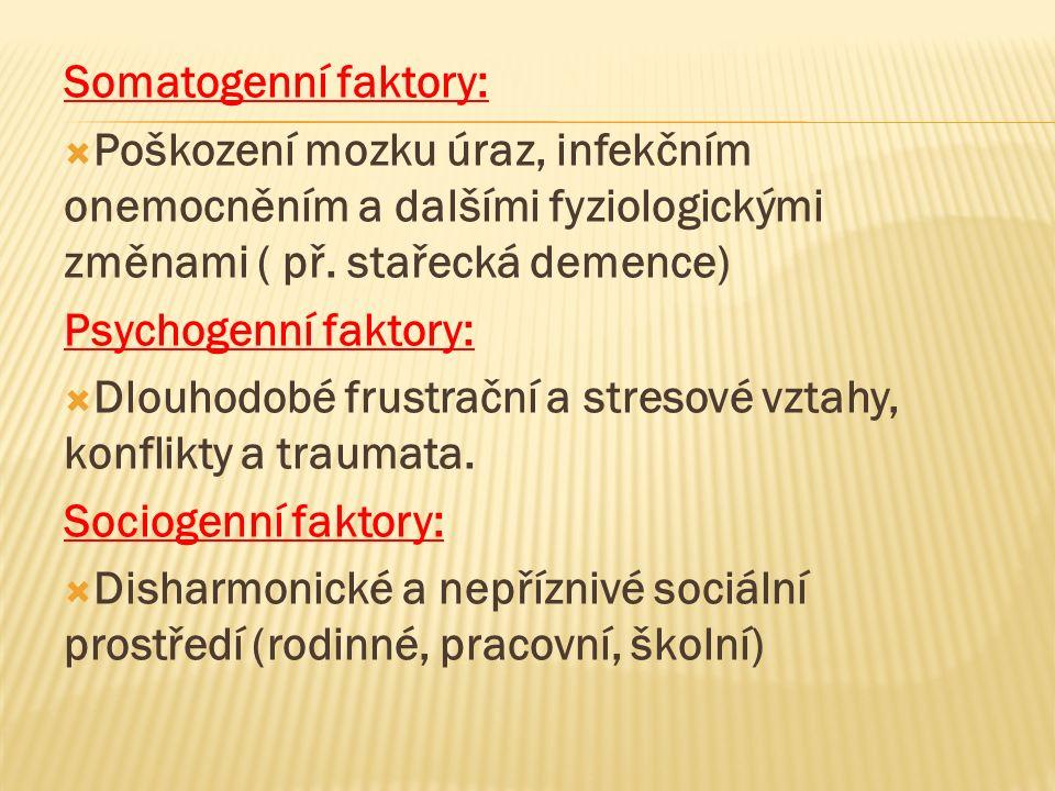 Somatogenní faktory:  Poškození mozku úraz, infekčním onemocněním a dalšími fyziologickými změnami ( př.