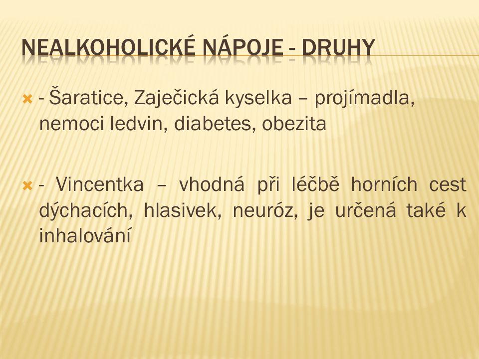  - Šaratice, Zaječická kyselka – projímadla, nemoci ledvin, diabetes, obezita  - Vincentka – vhodná při léčbě horních cest dýchacích, hlasivek, neuróz, je určená také k inhalování