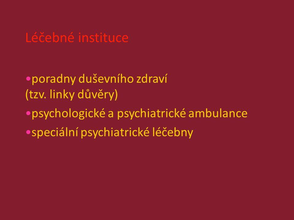 Léčebné instituce poradny duševního zdraví (tzv.