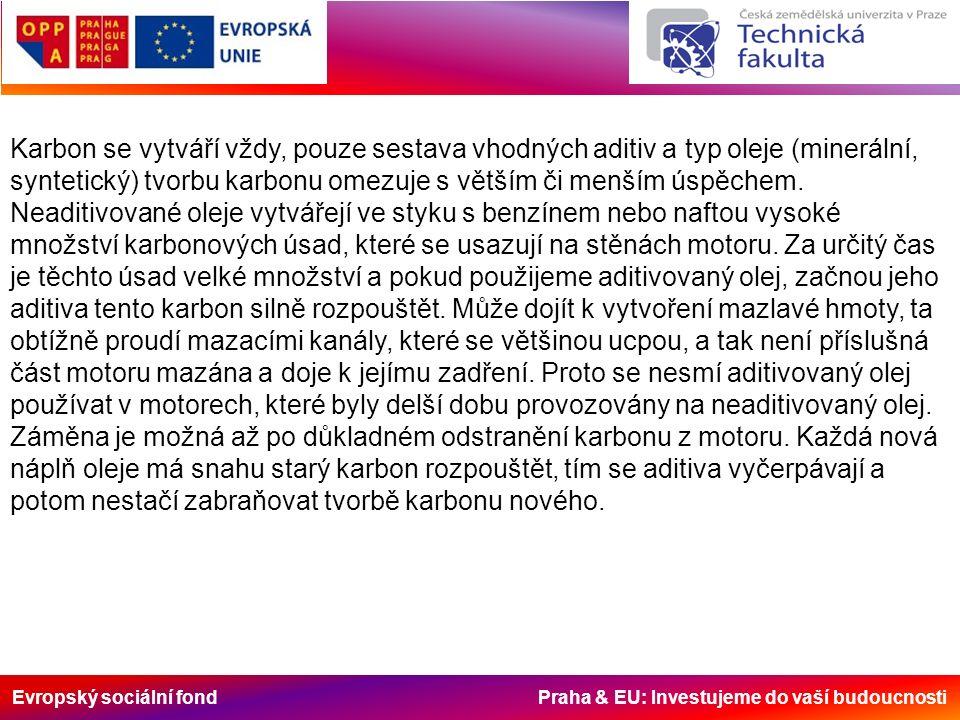 Evropský sociální fond Praha & EU: Investujeme do vaší budoucnosti Karbon se vytváří vždy, pouze sestava vhodných aditiv a typ oleje (minerální, syntetický) tvorbu karbonu omezuje s větším či menším úspěchem.