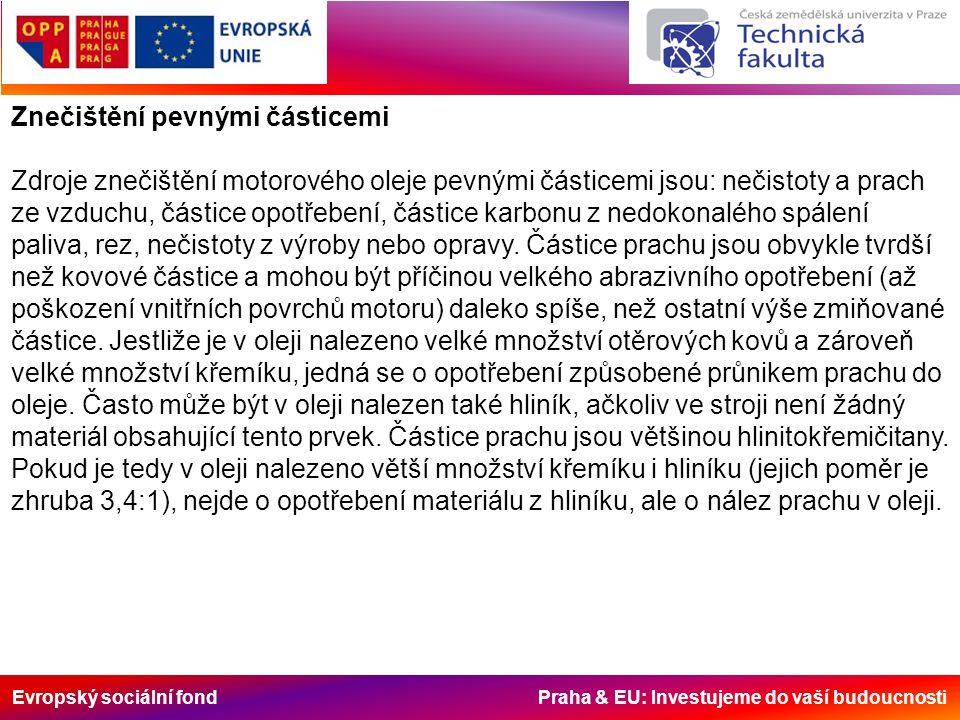 Evropský sociální fond Praha & EU: Investujeme do vaší budoucnosti Znečištění pevnými částicemi Zdroje znečištění motorového oleje pevnými částicemi jsou: nečistoty a prach ze vzduchu, částice opotřebení, částice karbonu z nedokonalého spálení paliva, rez, nečistoty z výroby nebo opravy.