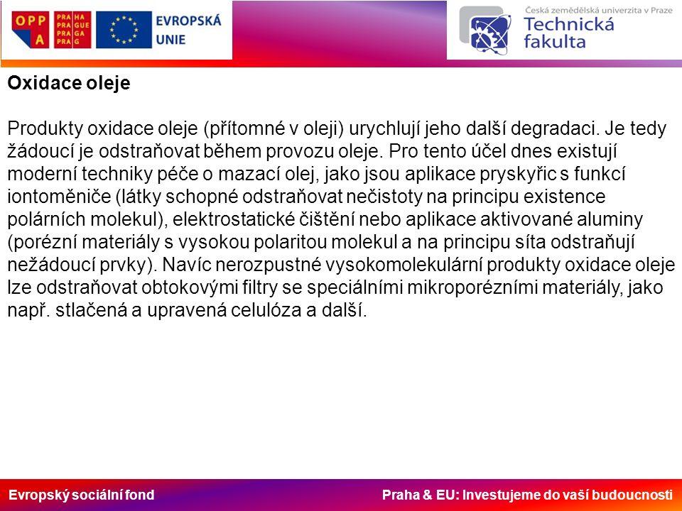 Evropský sociální fond Praha & EU: Investujeme do vaší budoucnosti Oxidace oleje Produkty oxidace oleje (přítomné v oleji) urychlují jeho další degrad