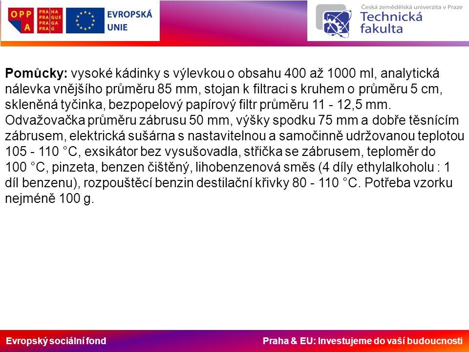 Evropský sociální fond Praha & EU: Investujeme do vaší budoucnosti Pomůcky: vysoké kádinky s výlevkou o obsahu 400 až 1000 ml, analytická nálevka vnějšího průměru 85 mm, stojan k filtraci s kruhem o průměru 5 cm, skleněná tyčinka, bezpopelový papírový filtr průměru 11 - 12,5 mm.