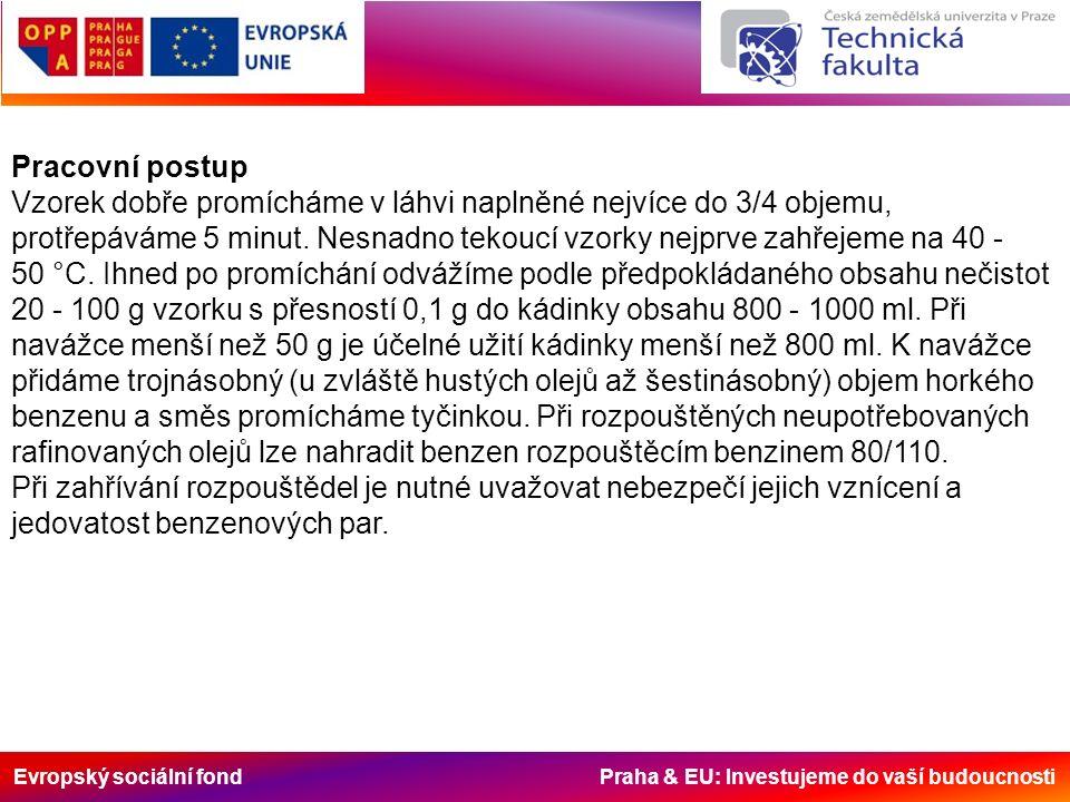 Evropský sociální fond Praha & EU: Investujeme do vaší budoucnosti Pracovní postup Vzorek dobře promícháme v láhvi naplněné nejvíce do 3/4 objemu, pro