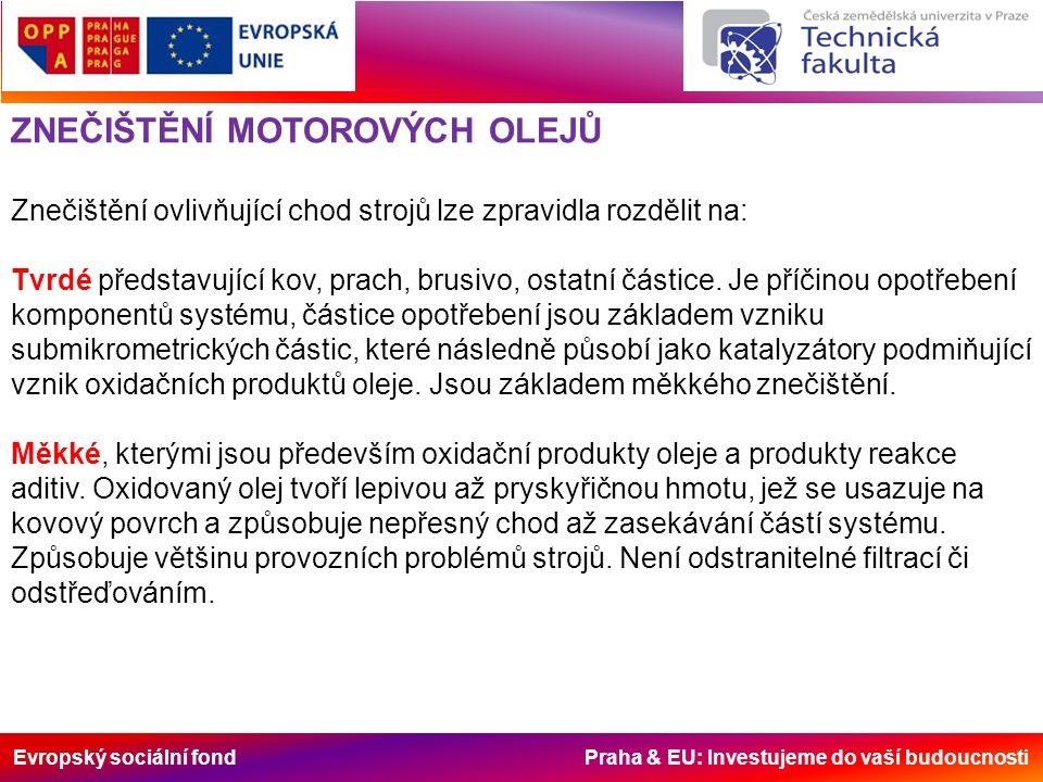 Evropský sociální fond Praha & EU: Investujeme do vaší budoucnosti ZNEČIŠTĚNÍ MOTOROVÝCH OLEJŮ Znečištění ovlivňující chod strojů lze zpravidla rozdělit na: Tvrdé představující kov, prach, brusivo, ostatní částice.