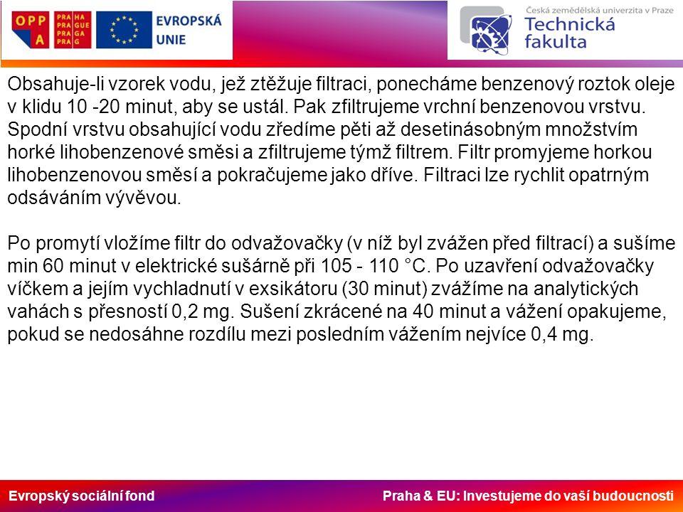 Evropský sociální fond Praha & EU: Investujeme do vaší budoucnosti Obsahuje-li vzorek vodu, jež ztěžuje filtraci, ponecháme benzenový roztok oleje v klidu 10 -20 minut, aby se ustál.