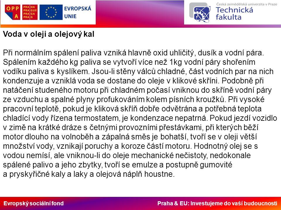 Evropský sociální fond Praha & EU: Investujeme do vaší budoucnosti Voda v oleji a olejový kal Při normálním spálení paliva vzniká hlavně oxid uhličitý, dusík a vodní pára.