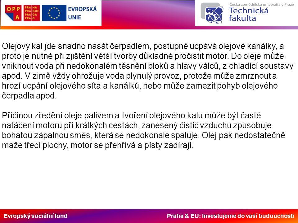 Evropský sociální fond Praha & EU: Investujeme do vaší budoucnosti Olejový kal jde snadno nasát čerpadlem, postupně ucpává olejové kanálky, a proto je nutné při zjištění větší tvorby důkladně pročistit motor.