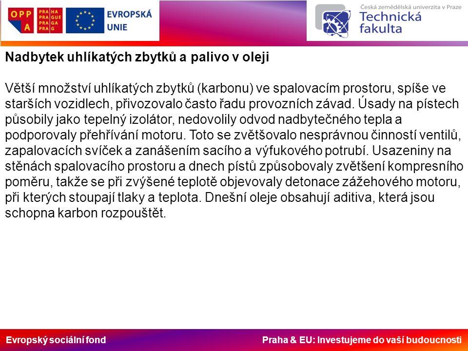 Evropský sociální fond Praha & EU: Investujeme do vaší budoucnosti Nadbytek uhlíkatých zbytků a palivo v oleji Větší množství uhlíkatých zbytků (karbonu) ve spalovacím prostoru, spíše ve starších vozidlech, přivozovalo často řadu provozních závad.
