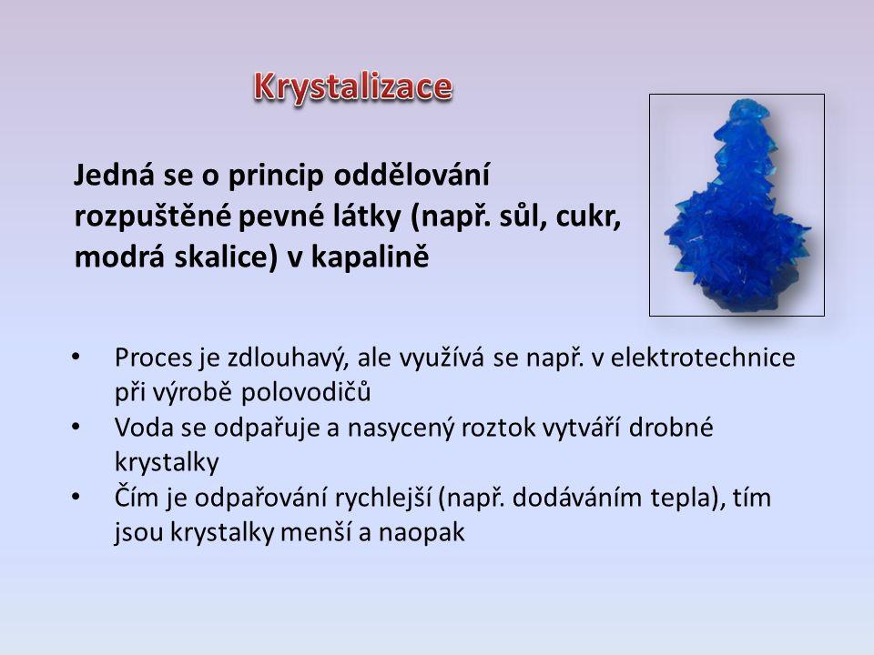 Jedná se o princip oddělování rozpuštěné pevné látky (např. sůl, cukr, modrá skalice) v kapalině Proces je zdlouhavý, ale využívá se např. v elektrote